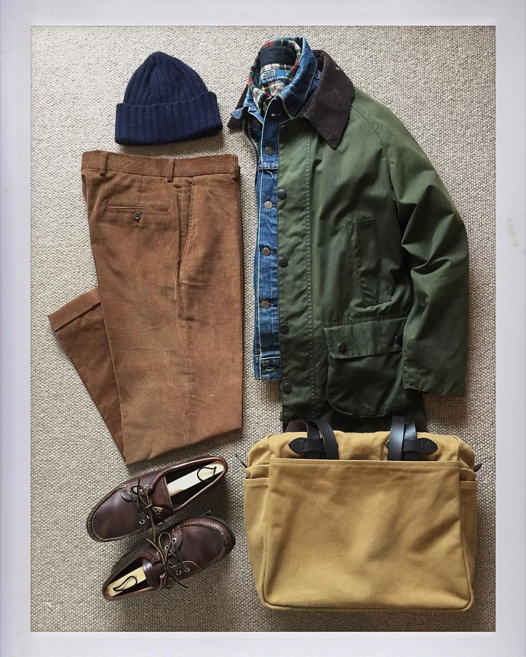 Flannel shirt bag  thedailyobsessionsme Todays Outfit Barbour Bedale Oiled Jacket