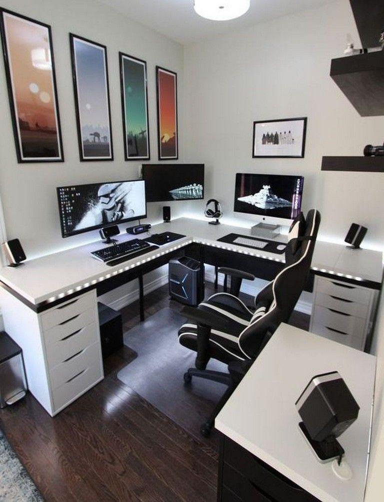 35 Best Office Desk Decoration Ideas Music Room Design Game Room Design Home Office Setup