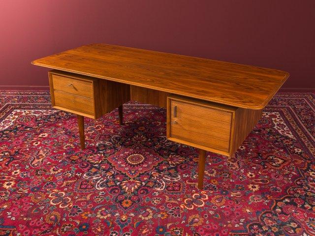 Desk From The 1950s In Scandinavian Design Body In Walnut Veneer With Two Drawers A Cupboard Door A Book Compartment O Walnut Writing Desk Desk Walnut Desks