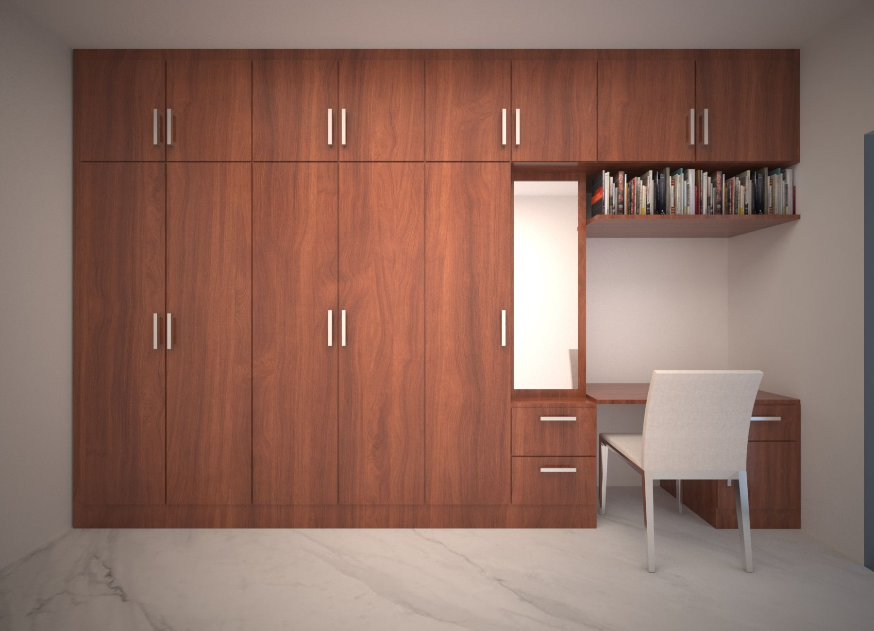 Wall To Wall Wardrobe For Master Bedroom With Side Study Table And Elegant Wood Finish Modern Cupboard Design Bedroom Cupboard Designs Cupboard Design