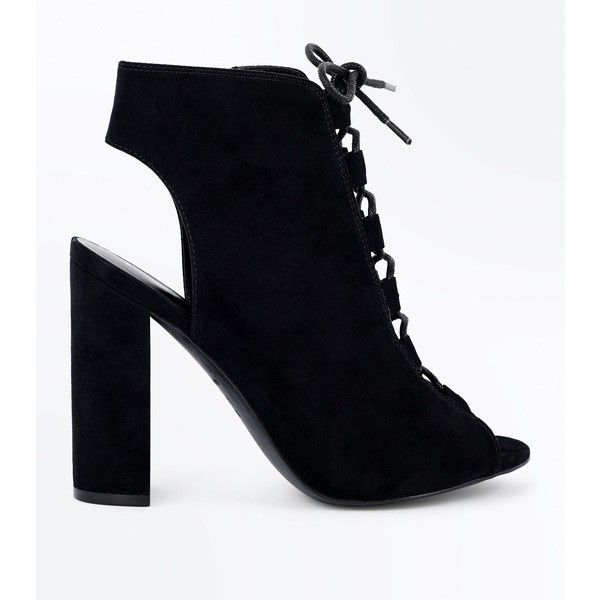 5a918f75501 Black Suedette Lace Up Peep Toe Heels (125 BRL) ❤ liked on Polyvore  featuring shoes