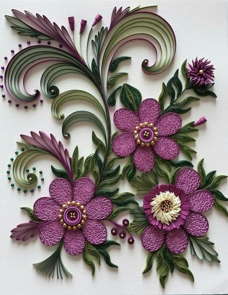 квиллинг картина цветы