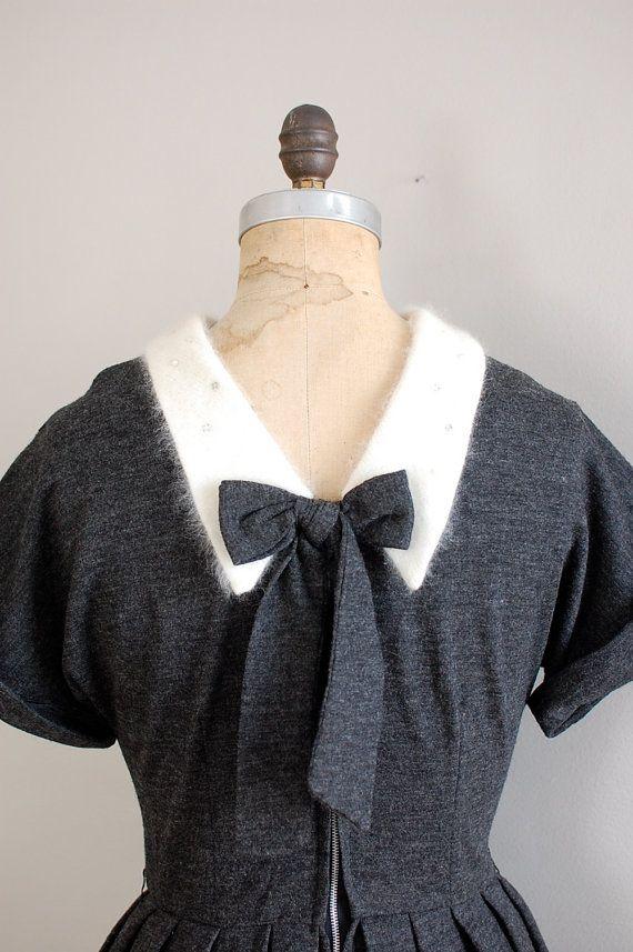 50s dress / gray wool dress / Amor Fati dress by DearGolden