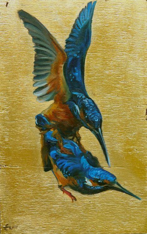 Eva de Visser – Title: Kingfishers (IJsvogels). Oil on wood, gold foil. W: 14 cm x H: 23 cm. 2010