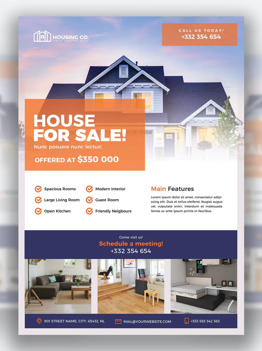 Real Estate Flyer Template Psd Real Estate Flyer Template Real Estate Flyers Real Estate Real estate flyer template psd