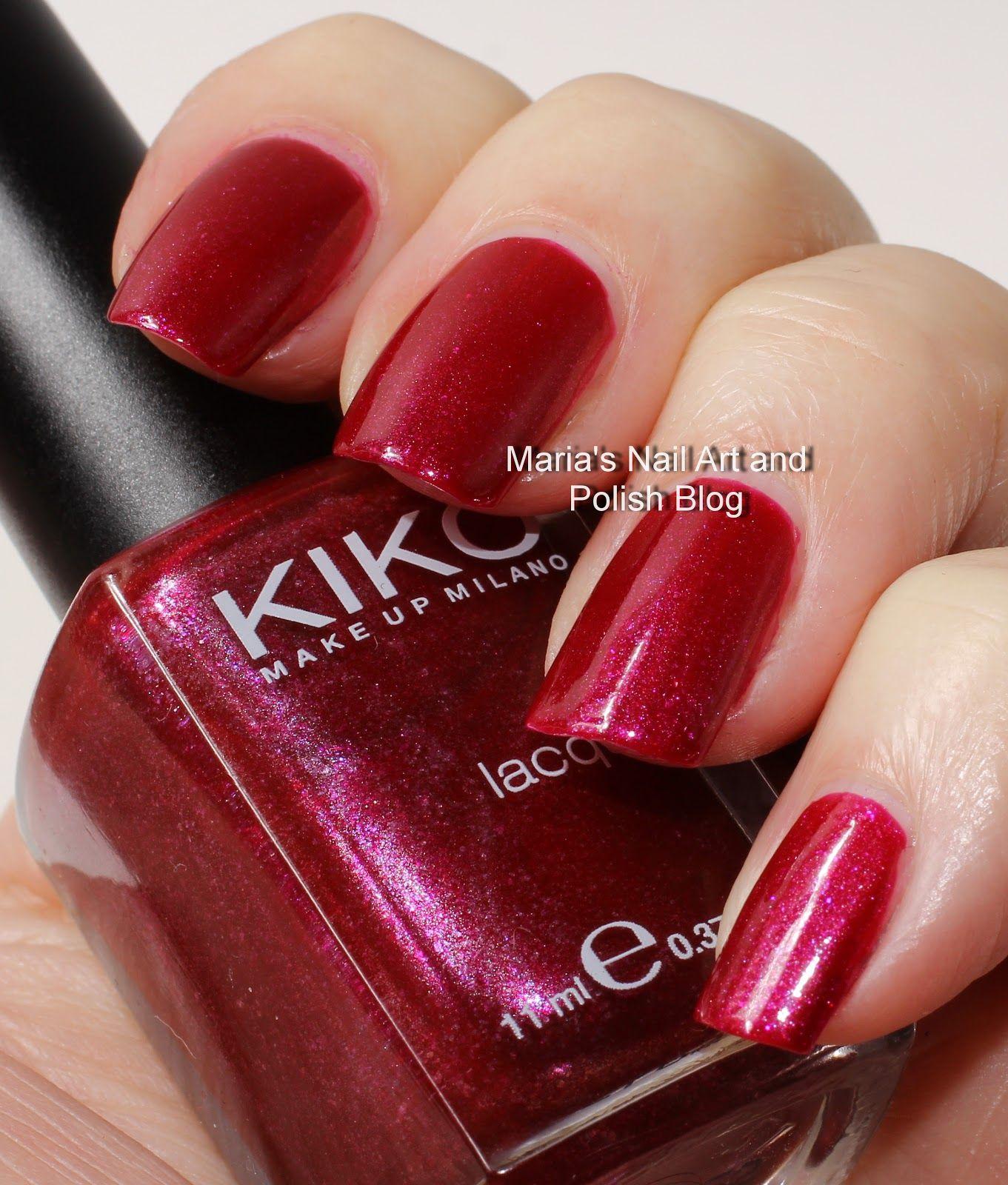 Kiko 254 Wine Red Microglitter swatches   Nail Polish Swatches ...