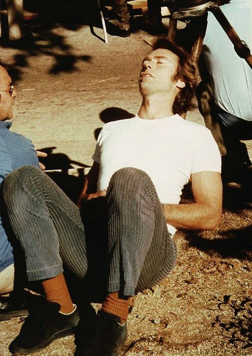 Clint Eastwood takes a nap on the set of Breezy, 1973.