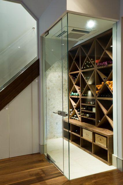 Modern Wine Cabinet Design modern wine storage under stair designs: contemporary wine cellar