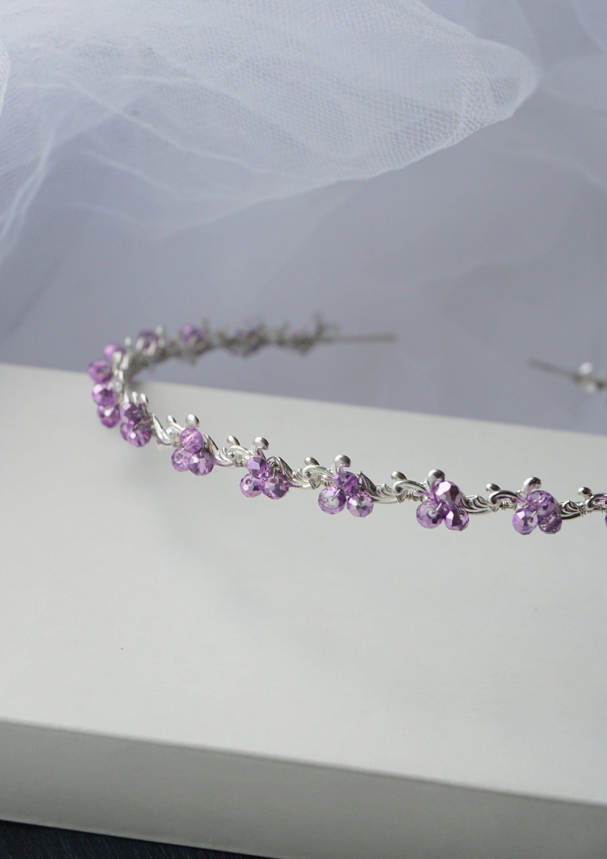light purple bridal headband, lilac wedding hair piece in