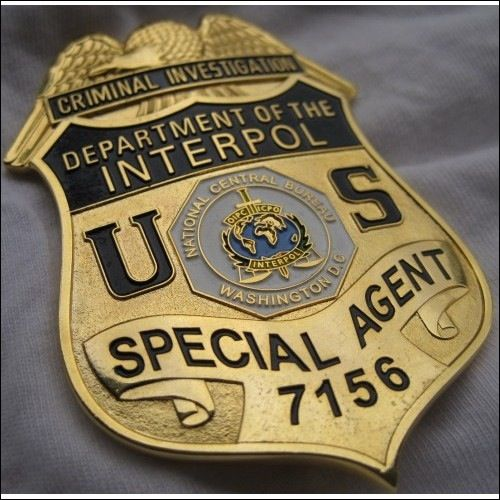 department of the interpol special agent criminal investigation badge law enforcement badges. Black Bedroom Furniture Sets. Home Design Ideas