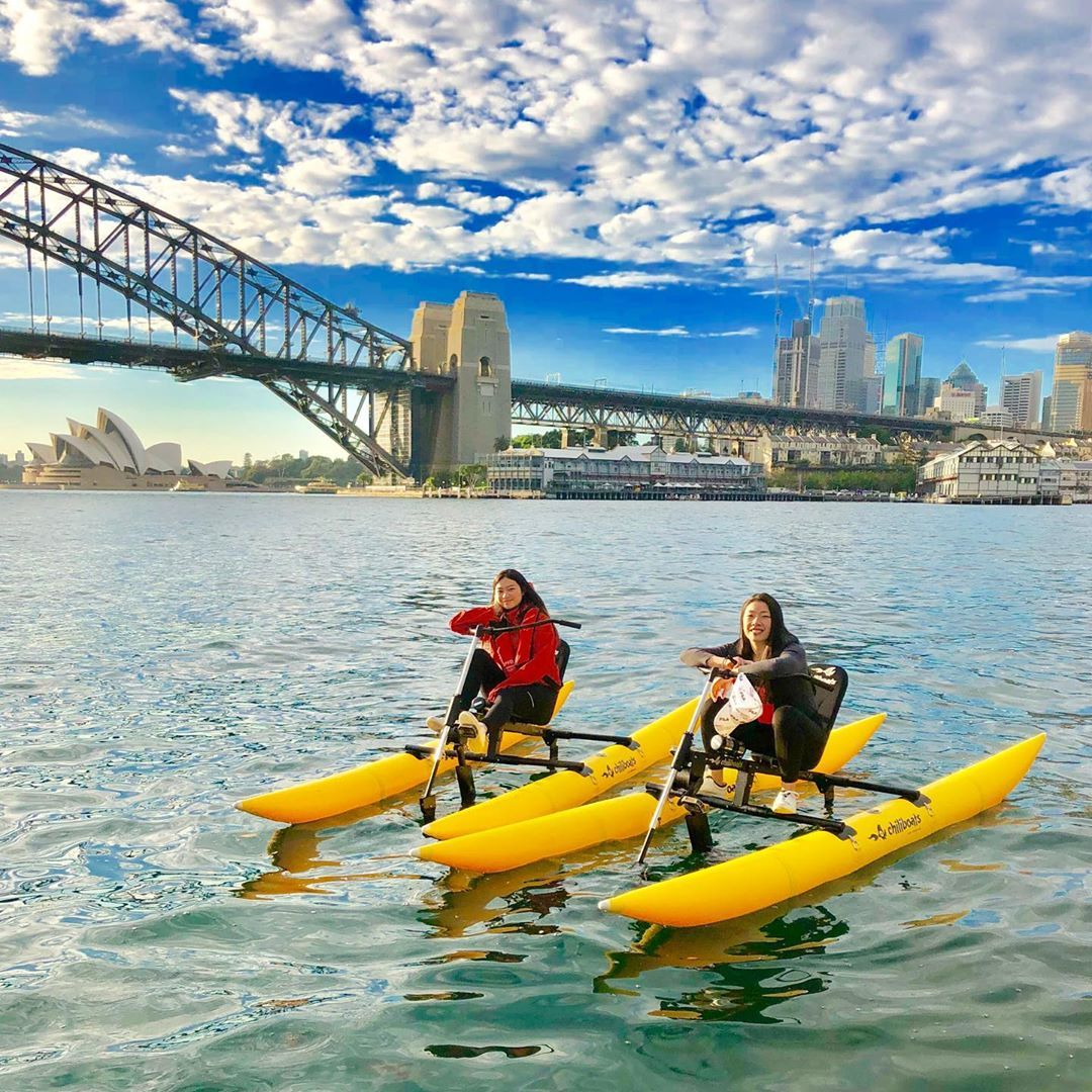 Chilling on a Chiliboat 😎🦘💦🚲 Kick back on Sydney Harbour. Book @sydney_by_kayak today . . . .