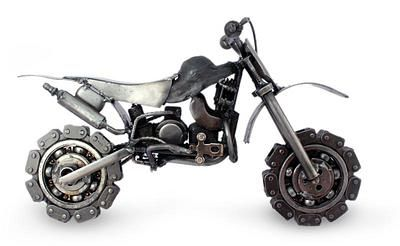 Collectible Recycled Metal Motorcycle Sculpture Rustic