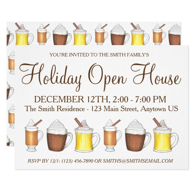 Winter Holiday Open House Hot Cocoa Rum Egg Nog Invitation Custom