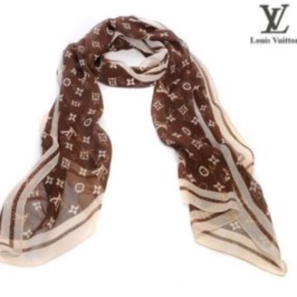 100 Silk Scarf With Lv Box 35 00 Without Box Louis Vuitton Scarf Scarf Long Silk Scarf