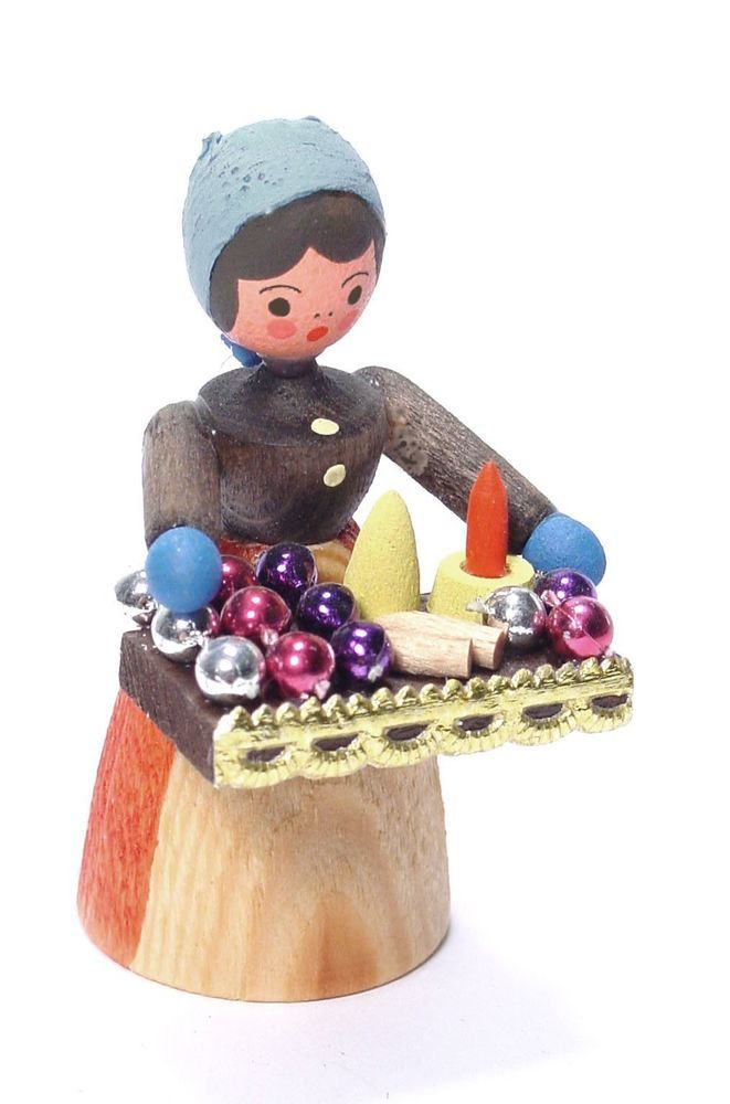 Erzgebirge Wood Miniature Christmas Ornament Lady # ...
