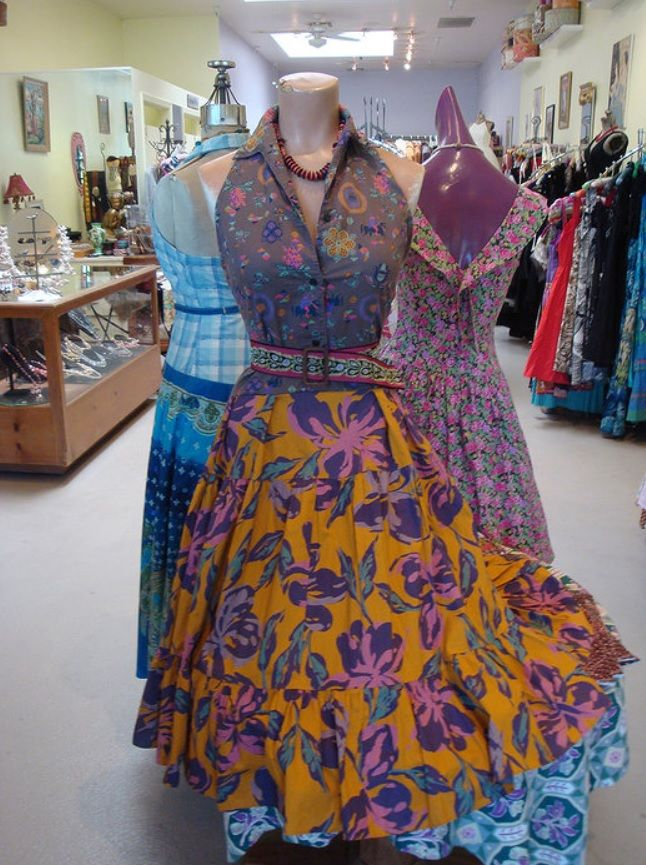 1950's top redesigned into a cut-away halter and paired with a 1970's skirt for a one-of-a-kind dress!