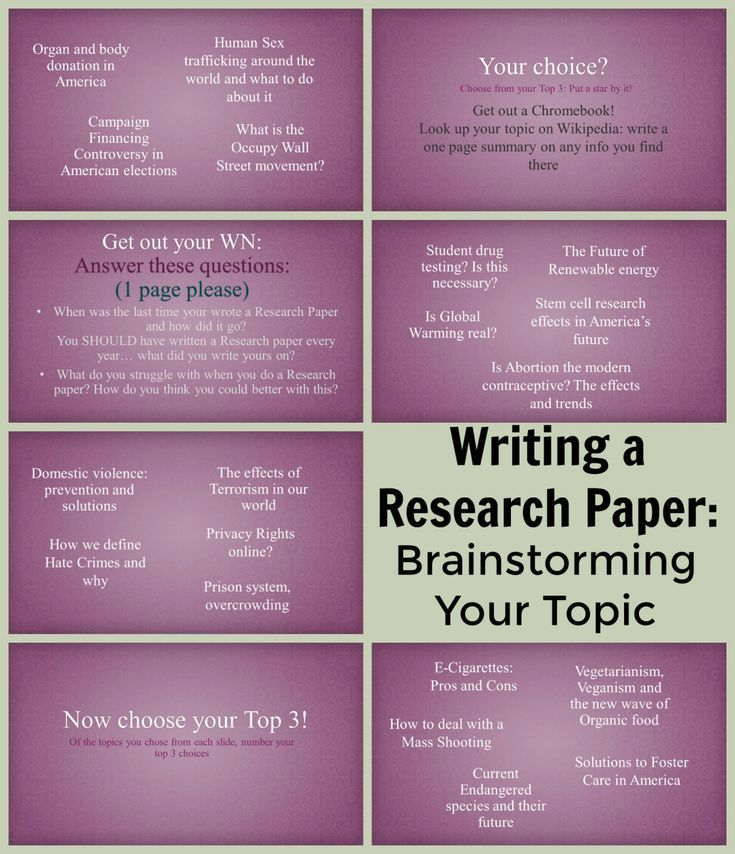 Writing A Research Paper: Brainstorming A Topic