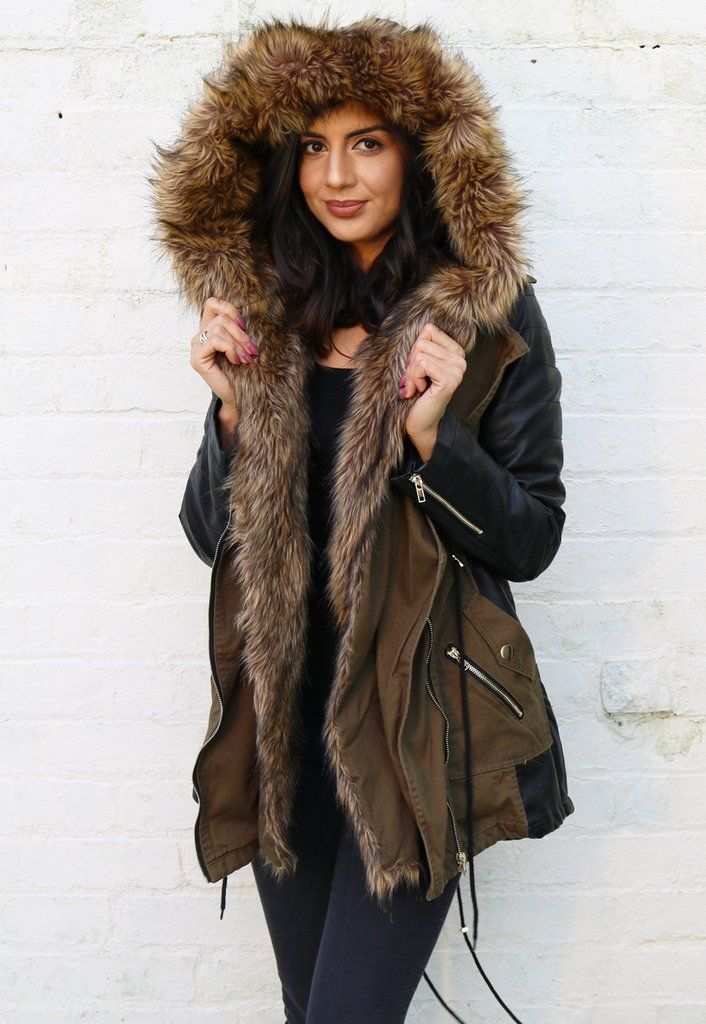 Coco Faux Leather Sleeve & Panel Parka with Fur Hood & Trim in ...