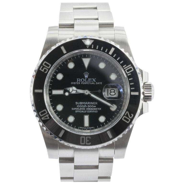 Rolex Steel Submariner Oyster Perpetual Date Black Dial Automatic Wristwatch From A Unique Collection Of Vintage Wrist W Rolex Rolex Oyster Rolex Submariner