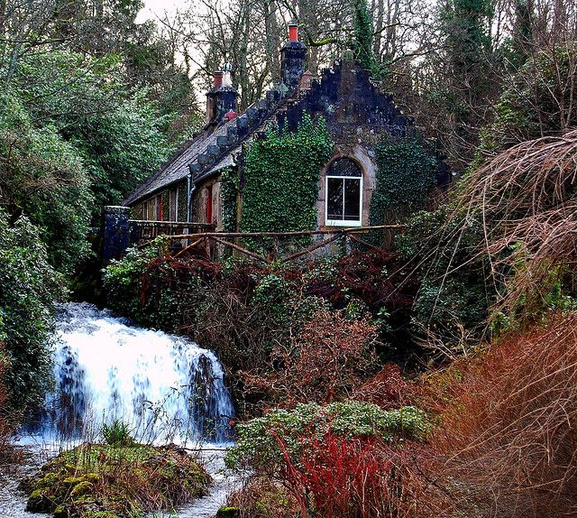 Hidden Scottish woodland cottage and waterfall by leanne0258, via Flickr (Jan 22, 2009)