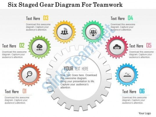 0115 six staged gear diagram for teamwork powerpoint template ...