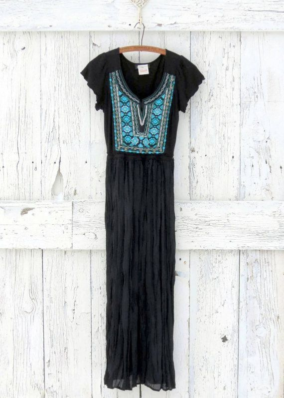 Boho Maxi Dress upcycled black and aqua dress by wearlovenow$52.00