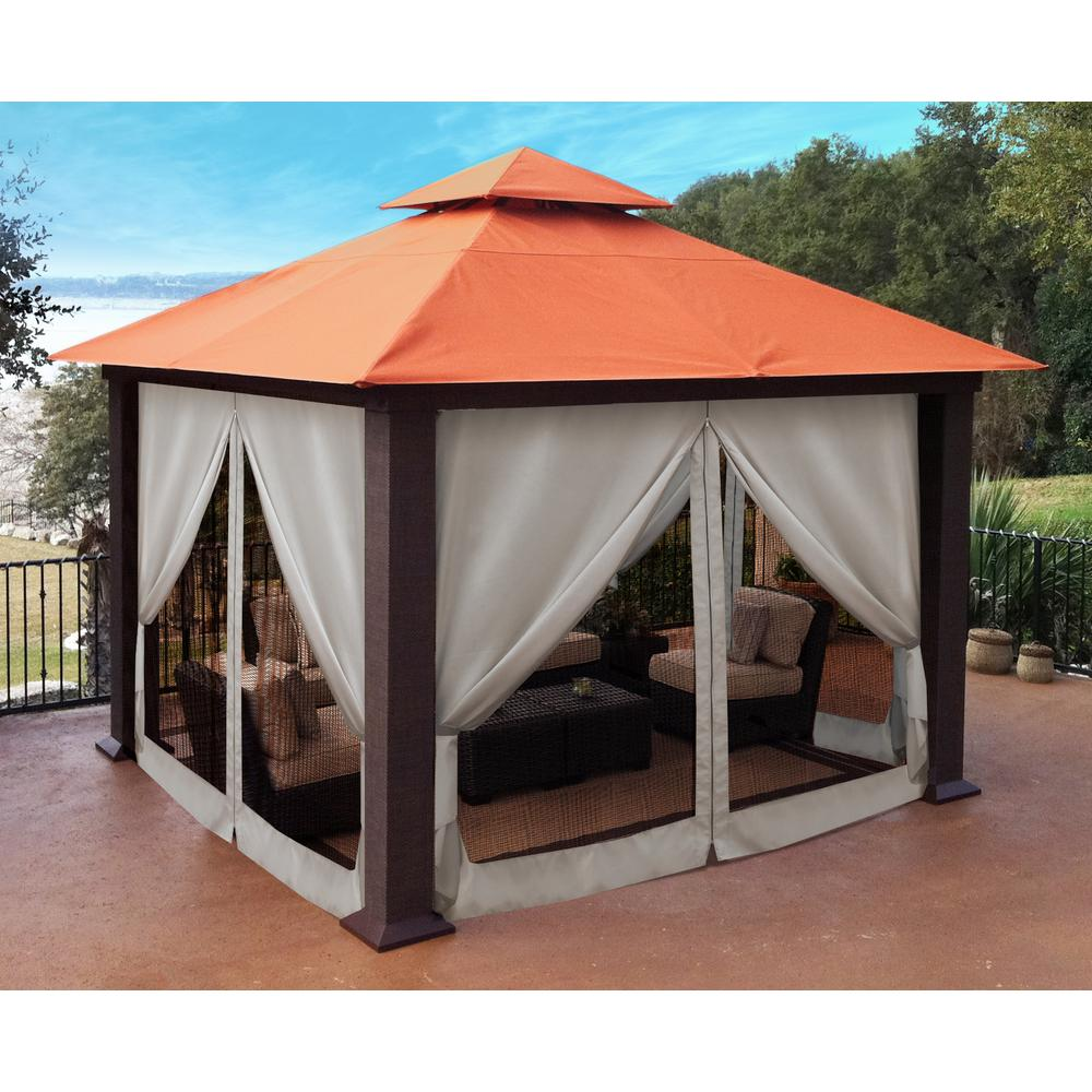Paragon Outdoor Paragon 12 Ft X 12 Ft Sunbrella Top Gazebo With Privacy Curtains And Mosquito Netting Gz734rk The Home Depot Patio Gazebo Grill Gazebo Diy Gazebo