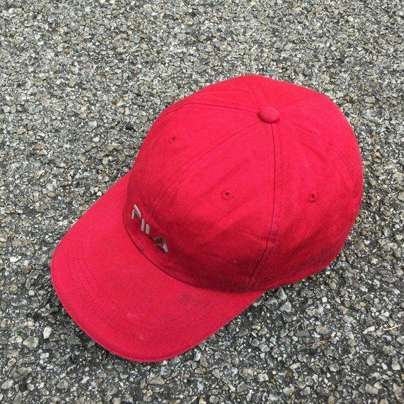 FILA SPORTS Cap Vintage 90 s Fila Biella Italia Cap Snapback Sportswear  Fila Hat Fila Big Logo Apparel Adjustable Fila Red Baseball Cap cbc238f81472