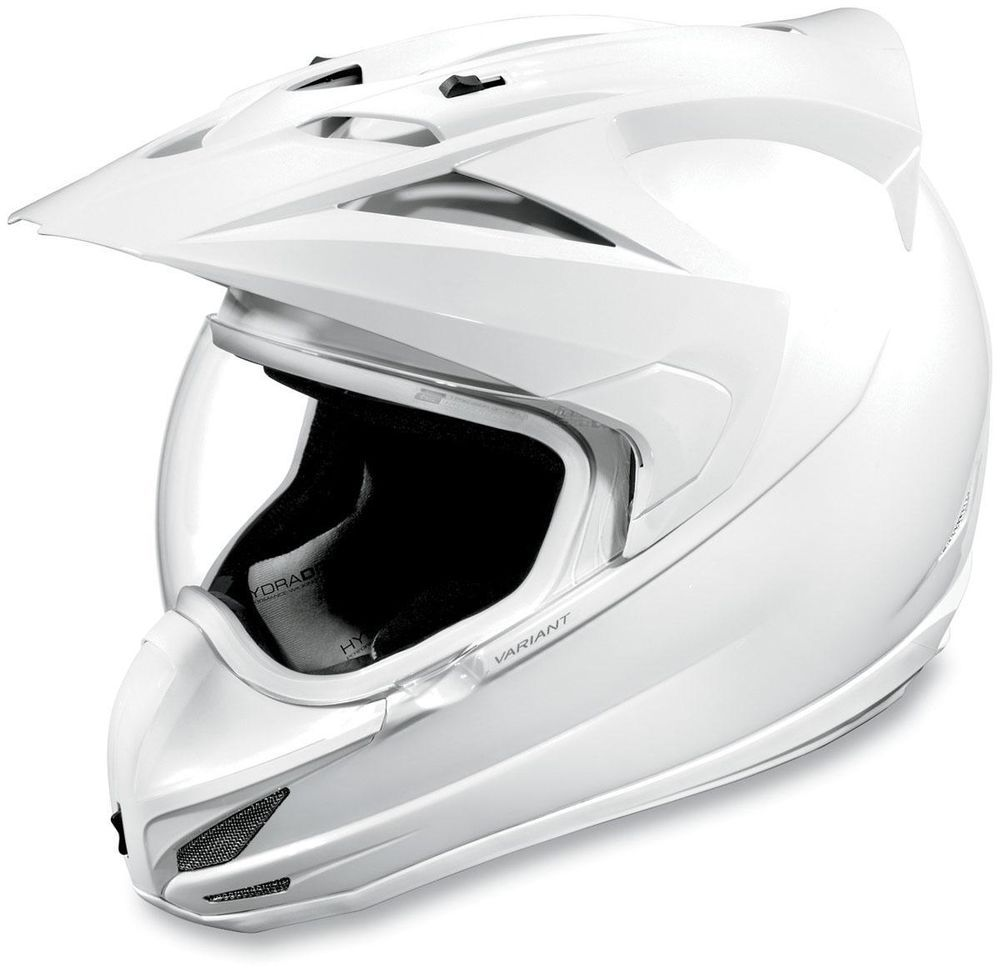 Icon variant urban assault solid motorcycle helmet white