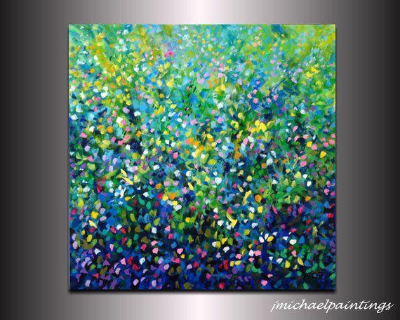 Large Impressionist Spring Wildflower Landscape Dot Painting