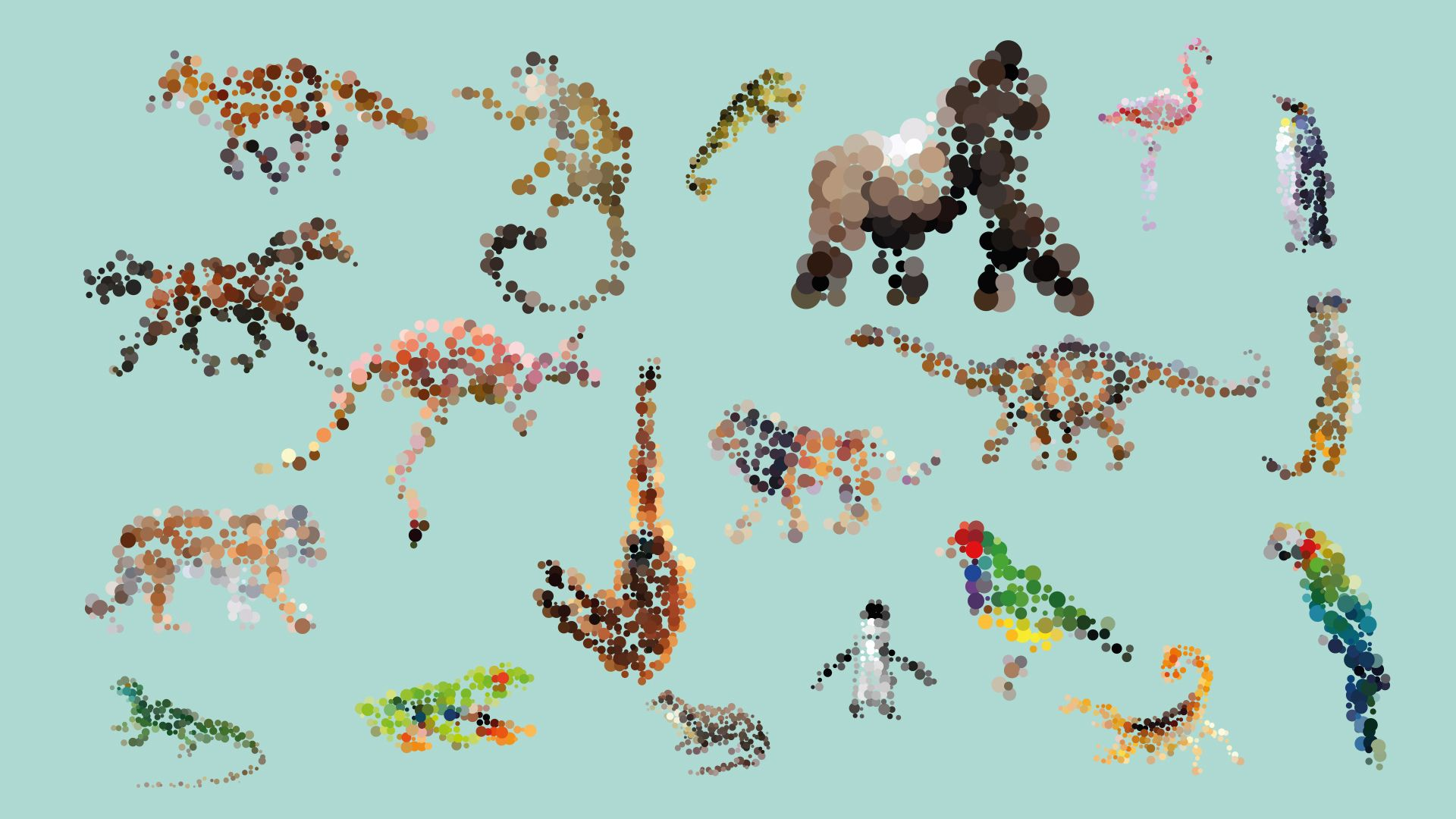 dotted animals wall stickers