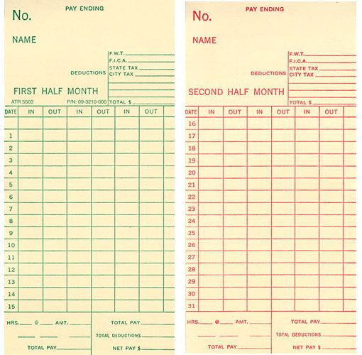 Timecards might be a good way to allude to  - time card