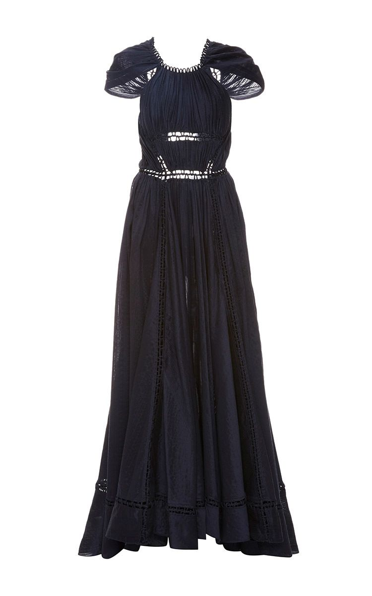Ruched Novelty Cotton Cap Sleeve Gown by Zac Posen for Preorder on Moda Operandi