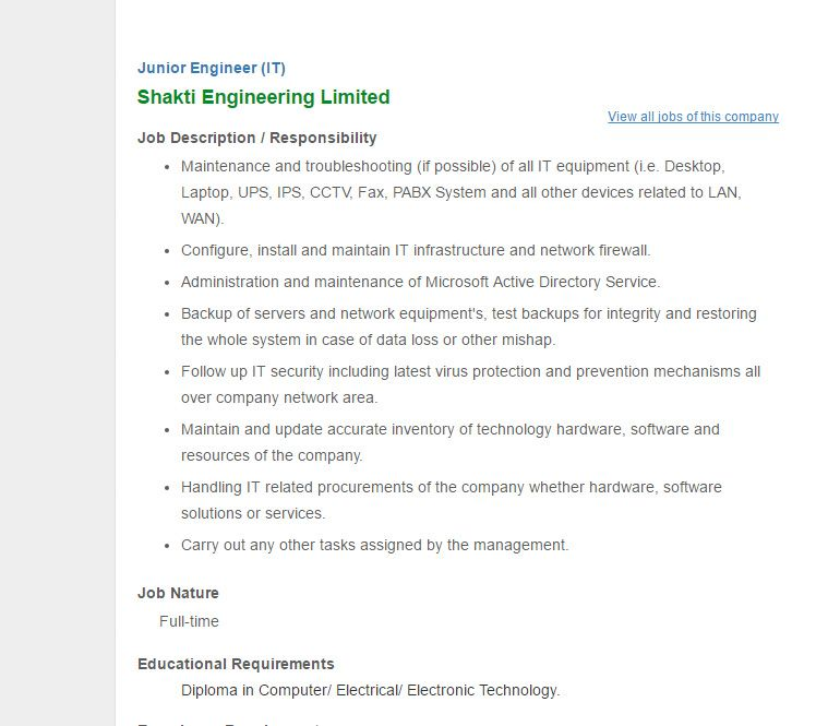 Shakti Engineering Limited Junior Engineer It Jobs Circular