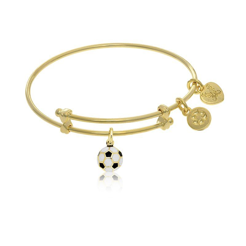 Soccer Ball Tween Charm Bangle Bracelet in Yellow Brass