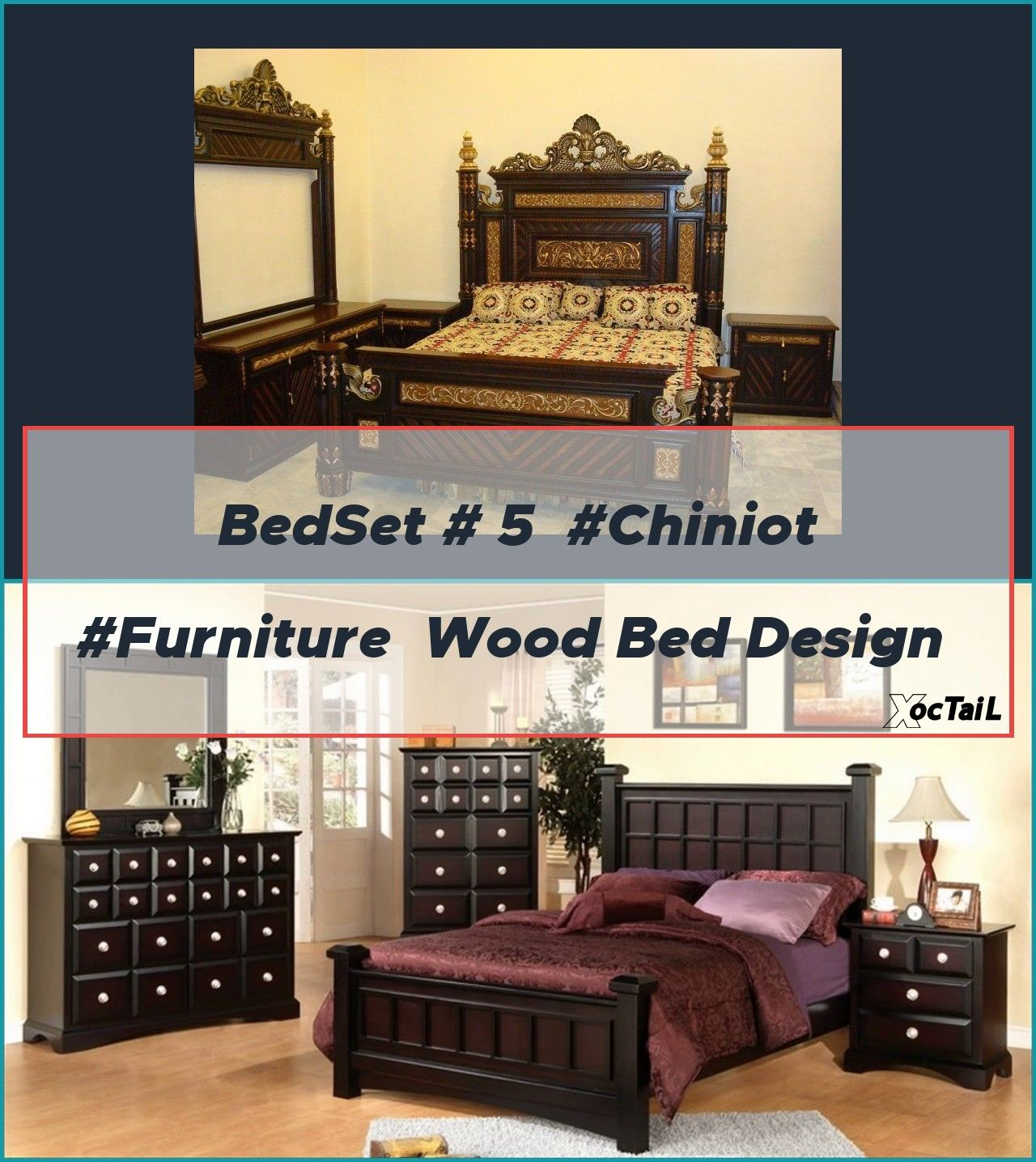 BedSet 5 Chiniot Furniture Wood bed design pakistan
