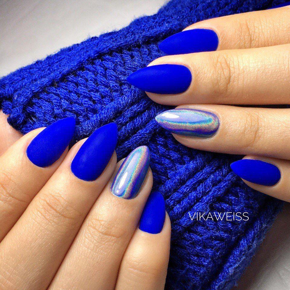 royal blue & holo nails