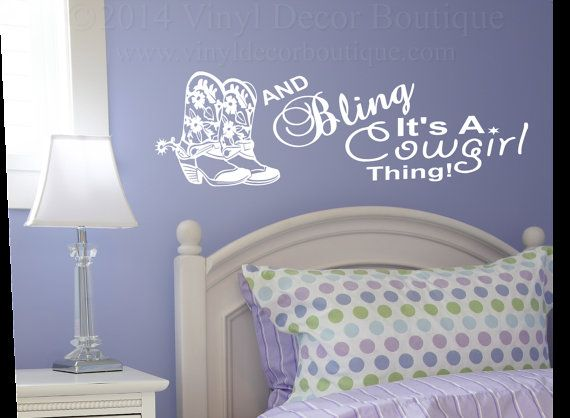 Boots Bling Cowgirl Wall Art, Wall Decal, Vinyl Decal, Vinyl Wall ...