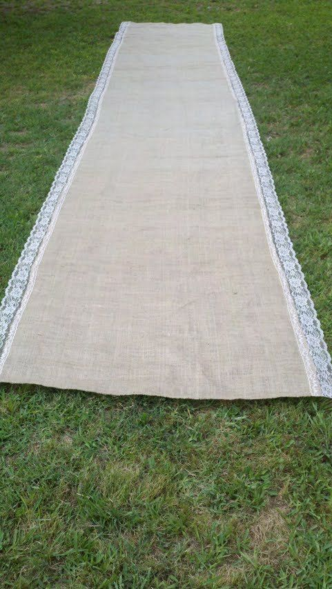 Burlap Aisle Runner Instead Of A Wood Chip Held Down By The Potted Flowers