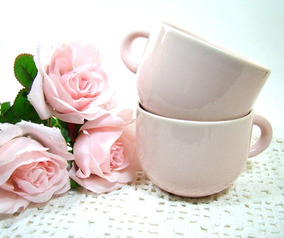 Vintage Pink Cups Stoneware Coffee Cups Tea Cups by MagnoliasAttic