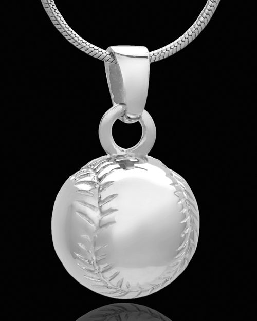 Sterling silver cremation baseball pendant stitches engraved on sterling silver cremation baseball pendant stitches engraved on ball ring and loop style bale aloadofball Gallery