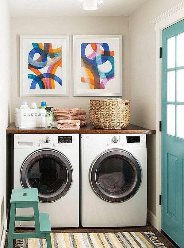 ideas para lavaderos peque os cuadros coloridos cestas