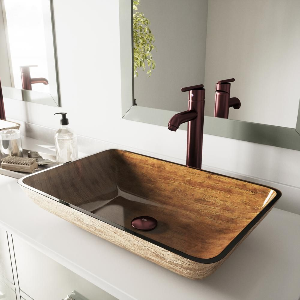 Vigo Rectangular Glass Vessel Bathroom Sink In Amber Sunset With Faucet Set In Oil Rubbed Bronze Vgt292 Glass Sink Sink Faucets Sink