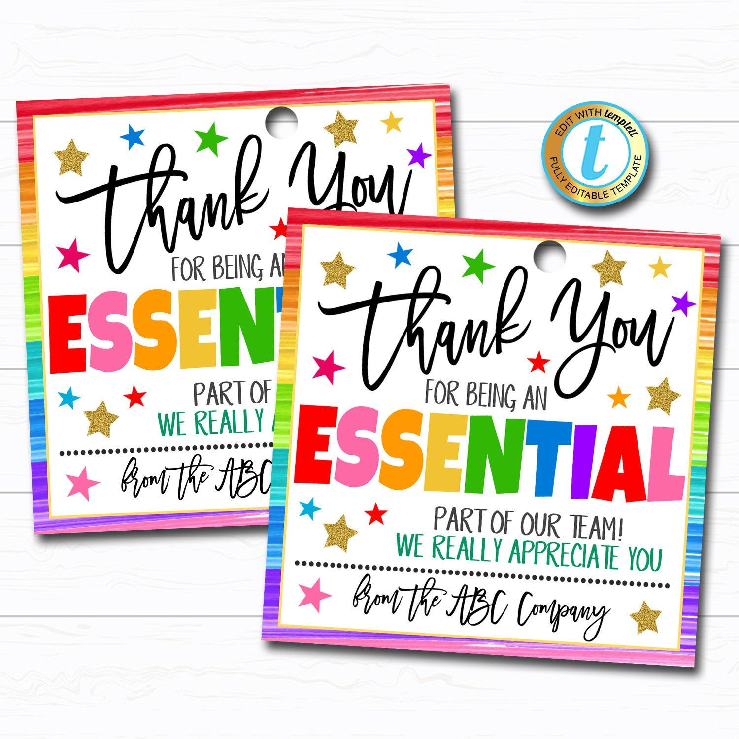 Employee appreciation gift tag thank you essential worker