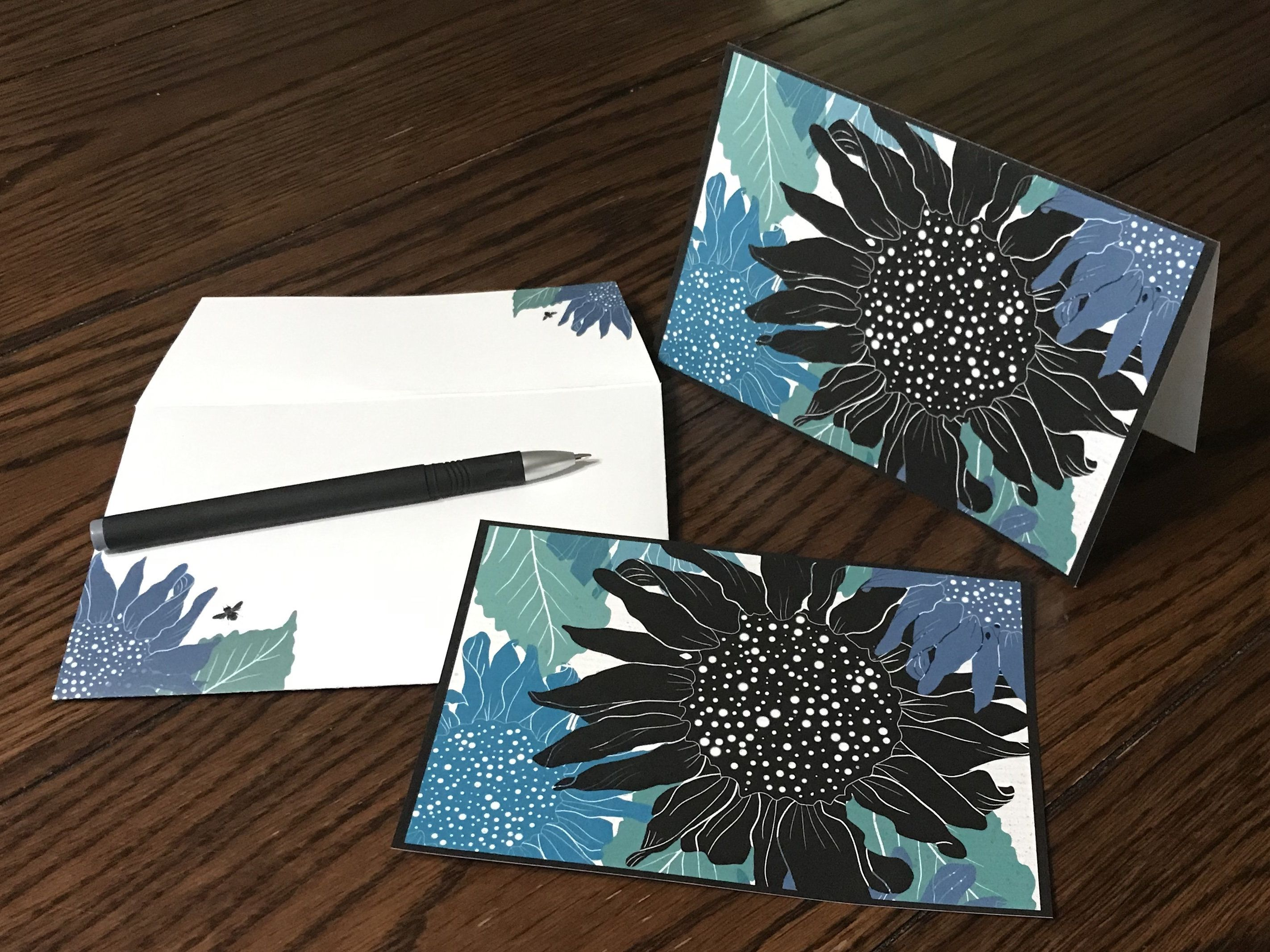 Sunflower Matching Card And Envelope Set 4 X 6 Etsy Matching Cards Blank Cards Design Stamps