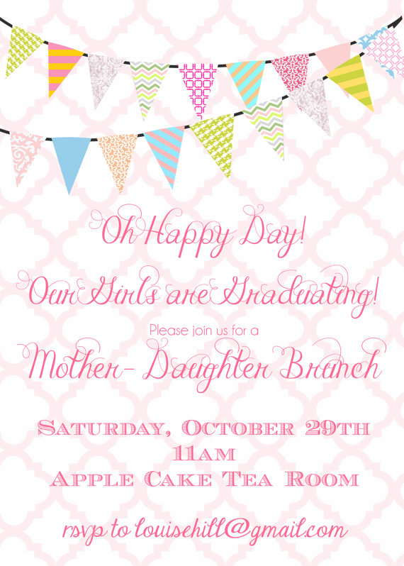Graduation party invitation digital file mother daughter brunch graduation party invitation digital file mother daughter brunch bunting banner invitation 13th stopboris Image collections