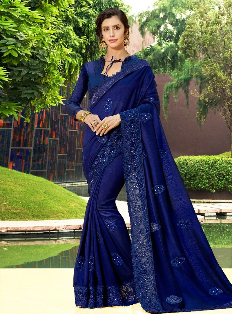 0044781be Buy Navy Blue Art Silk Festival Wear Saree 146799 with blouse online at lowest  price from vast collection of sarees at Indianclothstore.com.