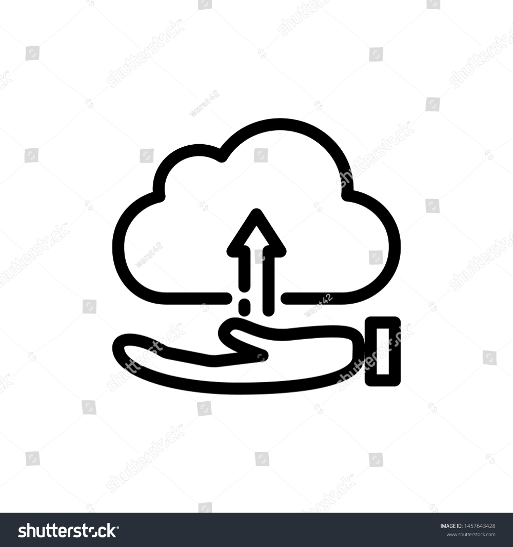 Hand With Cloud And Arrow Isolated On White Background Thin Line Icon Vector Illustration For Symbol Web Stock Clouds Vector White Stock Image