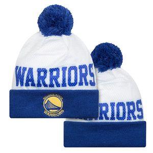 buy popular ffd63 06522 Golden State Warriors New Era Primary Logo Mesh Layer Pom Knit - White Royal