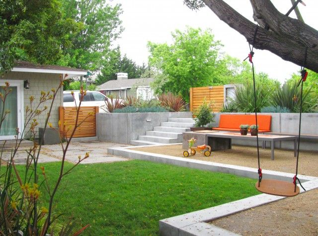 Modern Backyard Raised Concrete Edging Quintal Moderno